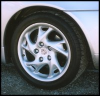 Closeup of a Porsche Boxter wheel